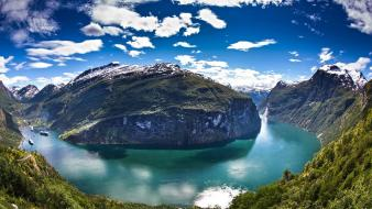 Mountains clouds landscapes nature norway rivers fjord geiranger wallpaper