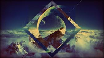 Mountains moon imagination photo manipulation triangles skies Wallpaper