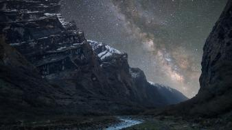 Night stars valleys milky way rivers himalaya wallpaper