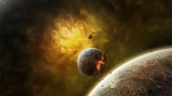 Outer space explosions planets fog the end wallpaper