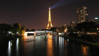 Paris city night water wallpaper