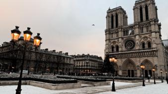 Paris snow architecture lanterns notre dame wallpaper