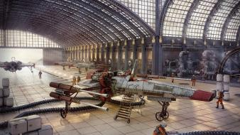 Star wars steampunk ships artwork hangar wallpaper