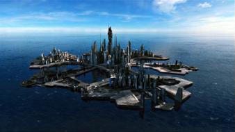 Stargate atlantis tv shows buildings futuristic city wallpaper