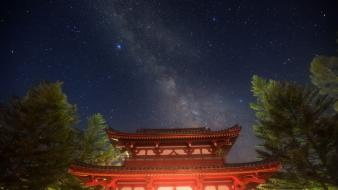 Stars temples night sky wallpaper