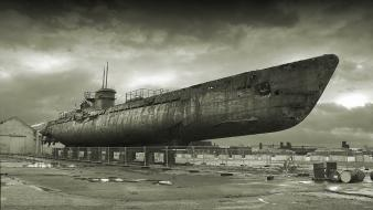 Submarine ships monochrome wallpaper