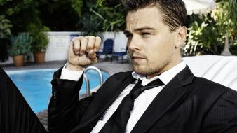 Suit men fists actors leonardo dicaprio swimming pools Wallpaper