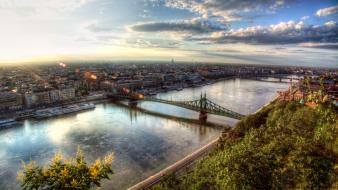 Sunrise clouds cityscapes bridges hungary budapest cities wallpaper