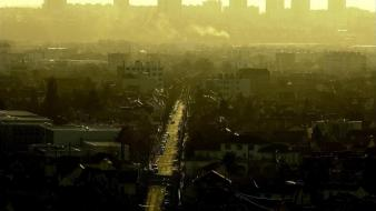 Sunset cityscapes streets fog urban buildings james lapett wallpaper