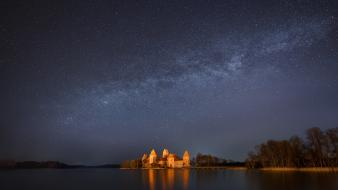 Trakai castles galaxies long exposure nebulae wallpaper