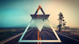 Trees roads artwork triangles wallpaper