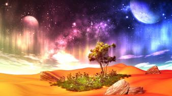 3d moon clouds flowers grass wallpaper