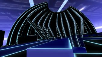 Abstract video games tron geometry digital art wallpaper