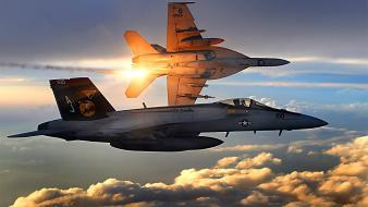Aircraft military sunlight fa-18 hornet fighter jets wallpaper