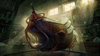 Airship artwork fantasy art interior science fiction wallpaper