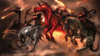 Art horses warriors apocalyptic the four horsemen wallpaper
