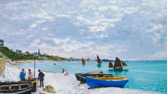 Boats liquicity oil painting paintings sea wallpaper