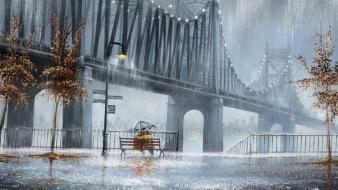 Bridges bench couple artwork drawings jeff rowland wallpaper