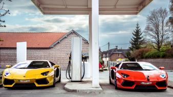 Cars gas station lamborghini aventador wallpaper