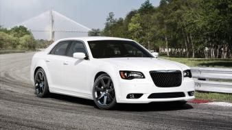 Cars vehicles white chrysler 300 front angle view wallpaper