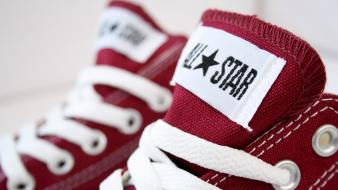 Close-up shoes converse macro sneakers all star red wallpaper