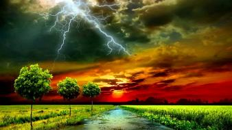 Clouds trees lightning photo manipulation roadway sky wallpaper