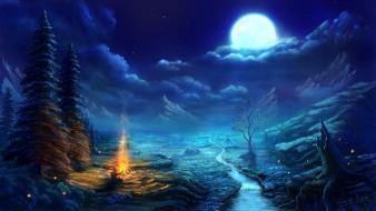 Clouds trees night stars moon campfire skies Wallpaper