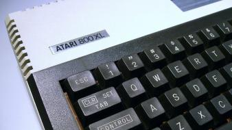 Computers vintage keyboards atari history simple background Wallpaper