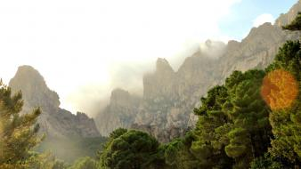 Corsica sun canyon clouds forests wallpaper