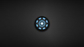 Dark background arc reactor symbols blue seed Wallpaper