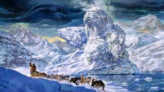 Dogs arctic husky artwork malamute north pole wallpaper