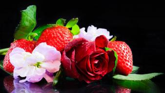 Flowers food strawberries roses Wallpaper