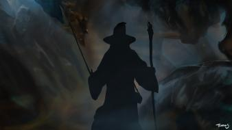 Gandalf silhouettes the lord of rings wizards hobbit wallpaper