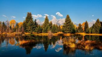 Grand teton national park wyoming autumn clouds forests wallpaper