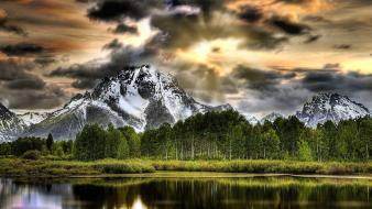 Grand teton national park wyoming clouds forests Wallpaper