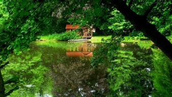 Green houses lakes wallpaper
