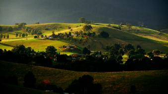 Green sunset landscapes hills countryside farm wallpaper