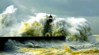 Landscapes lighthouses nature sea storm wallpaper
