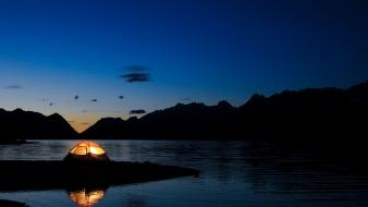Landscapes nature night tents Wallpaper