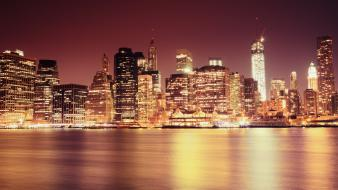 Manhattan new york city cities cityscapes night wallpaper