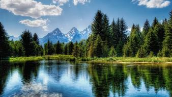 Mountains clouds landscapes nature forests lakes wallpaper