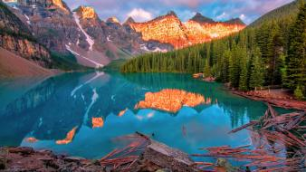 Mountains landscapes nature yellow forests lakes moraine lake wallpaper