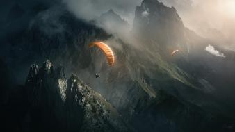 Mountains skydiving parachute wallpaper
