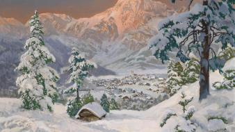 Mountains snow trees artistic houses drawings villages wallpaper