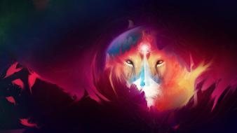 Multicolor artwork lions adam spizak wallpaper