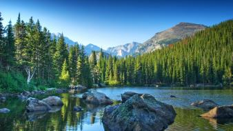 National park rocky mountains forests lakes landscapes Wallpaper