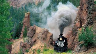 Nature smoke trains railroad tracks steam engine vehicles wallpaper
