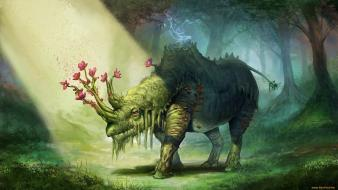 Nature trees flowers forests animals dinosaurs fantasy art wallpaper