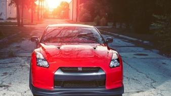 Nissan gtr cars front view r35 red wallpaper