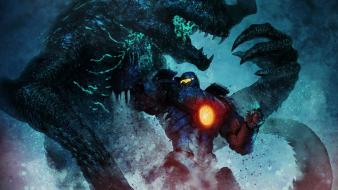 Pacific rim fighting mecha monsters movies wallpaper